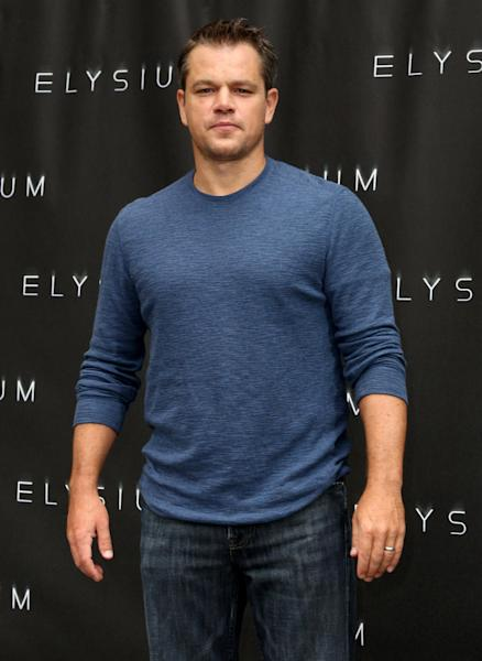 "FILE - In this Aug. 2, 2013 file photo, Matt Damon attends a photo call for ""Elysium"" at the Four Seasons, in Los Angeles. The Environmental Media Association is honoring Damon and Hayden Panettiere for their dedication to ecological causes. The organization announced Monday, Aug. 26, 2013, that the two actors will be honored at its 23rd annual Environmental Media Awards event presented by Toyota this fall. (Photo by Matt Sayles/Invision/AP, File)"