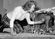 <p>The actress and singer puts together her Christmas nativity scene while at home in Rome, Italy. </p>
