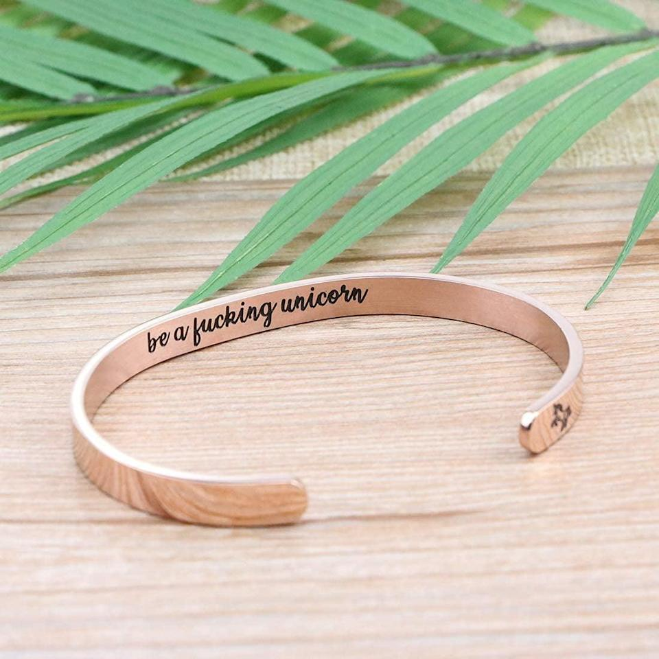 <p>The hidden message on this <span>Memgift Unicorn Cuff Bracelet</span> ($15) is pretty great. It'll remind them to celebrate themselves and embrace their inner unicorn awesomeness.</p>