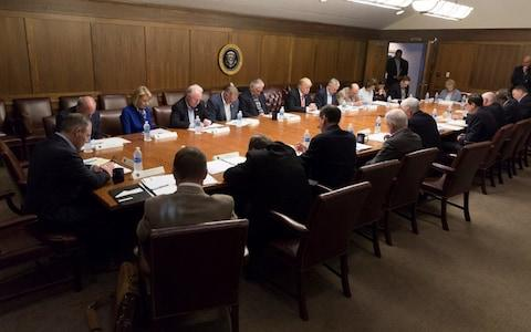 Donald Trump holds a cabinet meeting about Hurricane Irma, at Camp Davi - Credit: White House Photo/Twitter