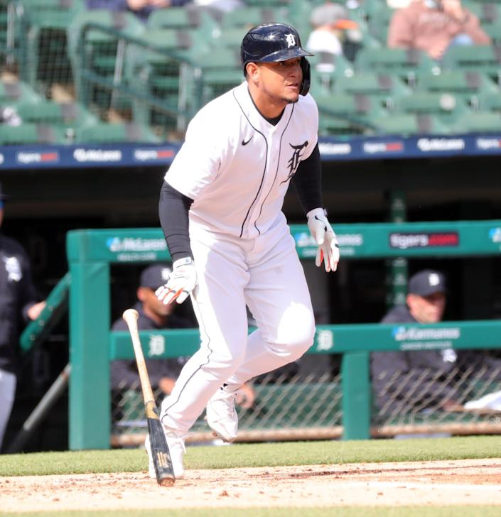 Detroit Tigers DH Miguel Cabrera (24) bats against Minnesota Twins starting pitcher Jose Berrios (17) during second inning action Saturday, May 8, 2021 at Comerica Park in Detroit.