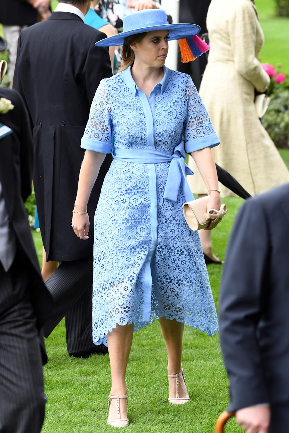 """Princess Beatrice wore an embroidered lace shirt dress by <a href=""""https://fave.co/2WRc5sE"""" rel=""""nofollow noopener"""" target=""""_blank"""" data-ylk=""""slk:Maje"""" class=""""link rapid-noclick-resp"""">Maje</a> with a matching hat by Bundle MacLaren and nude accessories. <em>[Photo: PA]</em>"""