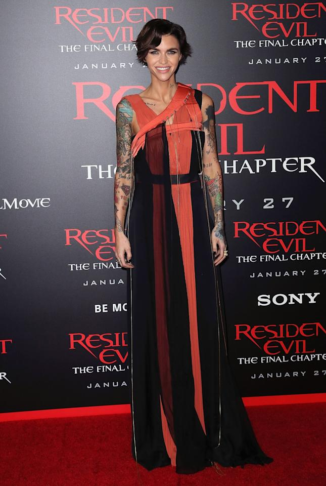<p>Ruby stunned in this unique red and black number by Vionnet earlier this month. [Photo: Getty] </p>