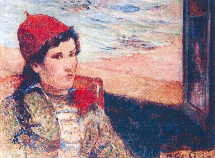 CORRECTS SPELLING OF PAUL GAUGUIN'S NAME This photo released by the police in Rotterdam, Netherlands, on Tuesday, Oct. 16, 2012, shows the 1898 painting 'Girl in Front of Open Window' by Paul Gauguin. Dutch police say seven paintings stolen from the Kunsthal museum in Rotterdam include one by Pablo Picasso, one by Henri Matisse, and two by Claude Monet. The heist, one of the largest in years in the Netherlands, occurred while the private Triton Foundation collection was being exhibited publicly as a group for the first time. (AP Photo/Police Rotterdam)