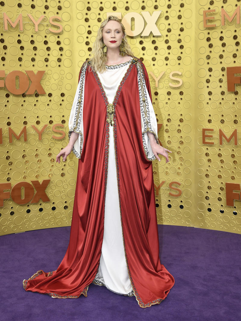 Gwendoline Christie arrives at the 71st Primetime Emmy Awards on Sunday, Sept. 22, 2019, at the Microsoft Theater in Los Angeles. (Photo by Vince Bucci/Invision for the Television Academy/AP Images)