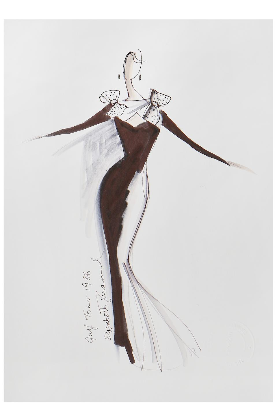 Elizabeth Emanuel sketch of Princess Diana's 1986 black crêpe evening gown with bows. (Kerry Taylor auctions)