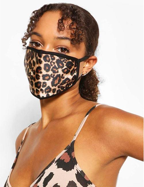 leopard print face mask covering