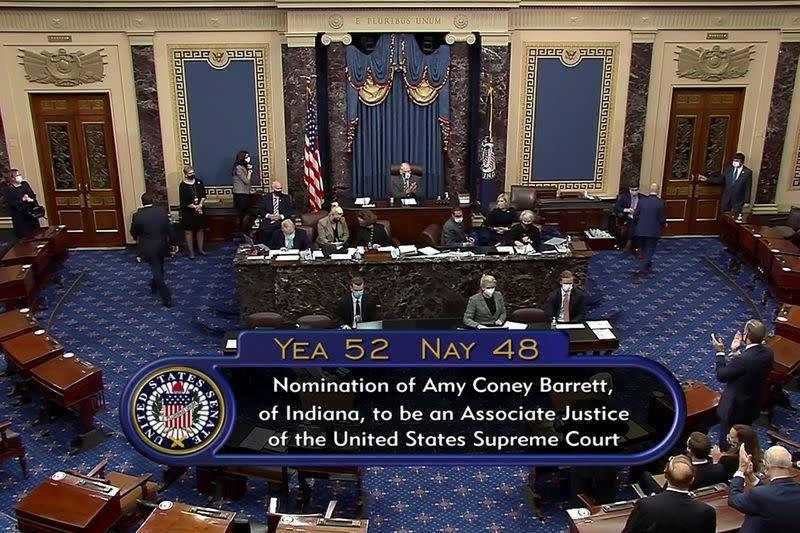 The tally is shown as the U.S. Senate votes on the confirmation of President Donald Trump's nominee Judge Amy Coney Barrett to the U.S. Supreme Court