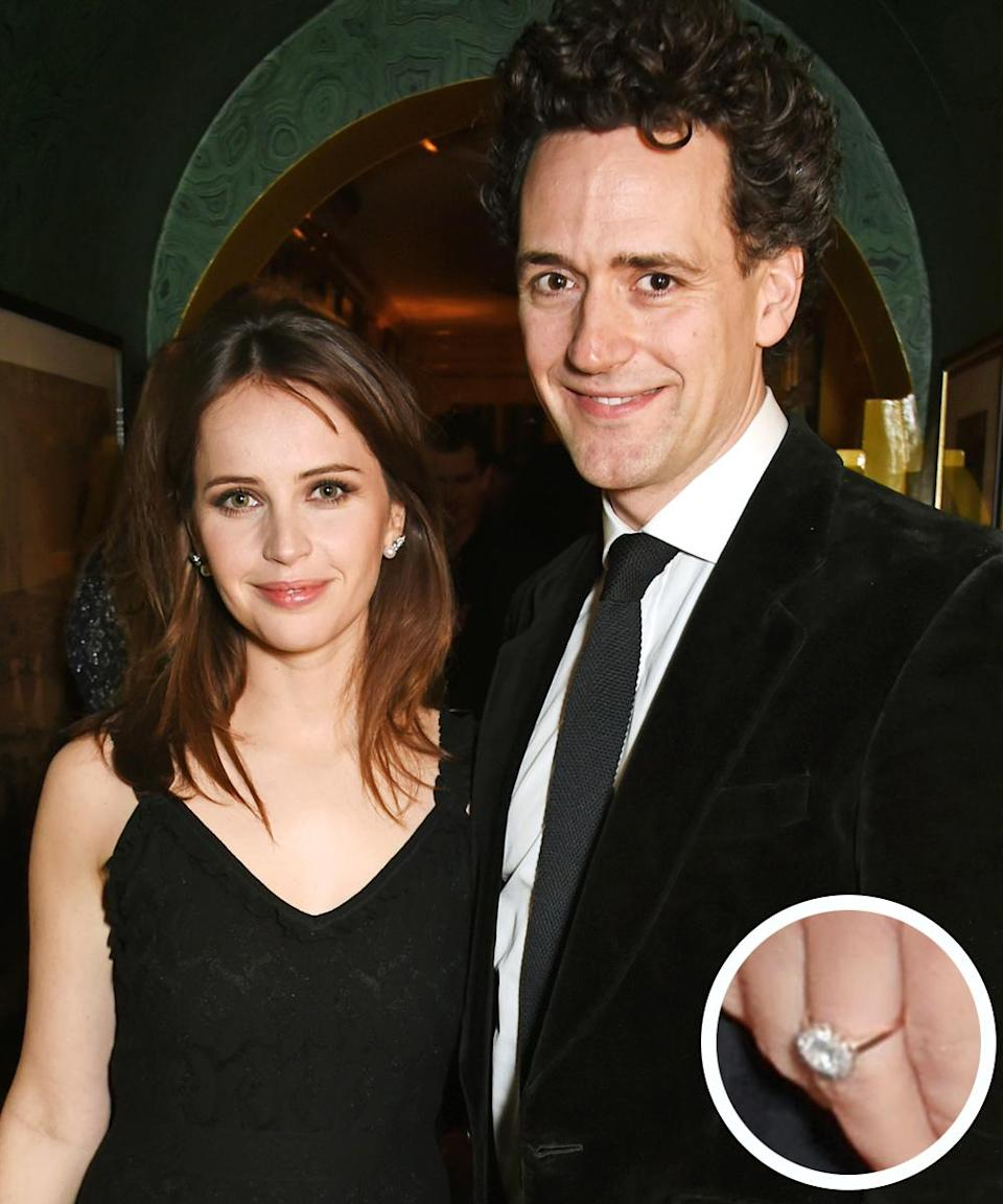 """<p>The <em>Star Wars</em> actress and her longtime boyfriend <a rel=""""nofollow noopener"""" href=""""http://www.instyle.com/news/felicity-jones-charles-guard-engaged"""" target=""""_blank"""" data-ylk=""""slk:announced their engagement"""" class=""""link rapid-noclick-resp"""">announced their engagement</a> early 2017, and Jones <a rel=""""nofollow noopener"""" href=""""http://www.instyle.com/syndication/felicity-jones-engagement-ring-photos"""" target=""""_blank"""" data-ylk=""""slk:debuted her ring"""" class=""""link rapid-noclick-resp"""">debuted her ring</a> on the red carpet in June. </p>"""