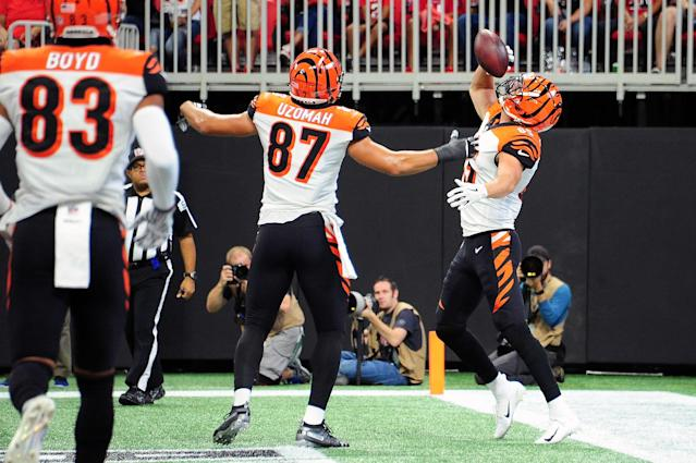 Bengals tight end Tyler Eifert pretended to chug a beer in the end zone after scoring a touchdown on Sunday against the Atlanta Falcons. (Getty Images)