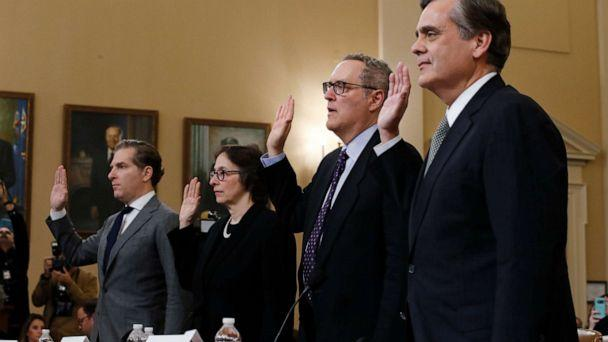 PHOTO: Constitutional law experts and professors Noah Feldman, Pamela Karlan, Michael Gerhardt and Jonathan Turley are sworn in before before the House Judiciary Committee on Capitol Hill in Washington, Dec. 4, 2019. (Alex Brandon/AP)