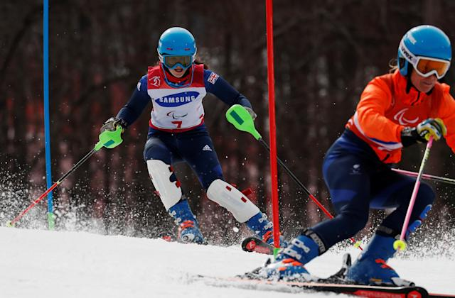 Alpine Skiing - Pyeongchang 2018 Winter Paralympics - Women's Slalom - Visually Impaired - Run 2 - Jeongseon Alpine Centre - Jeongseon, South Korea - March 18, 2018 - Menna Fitzpatrick of Britain and her guide. REUTERS/Paul Hanna