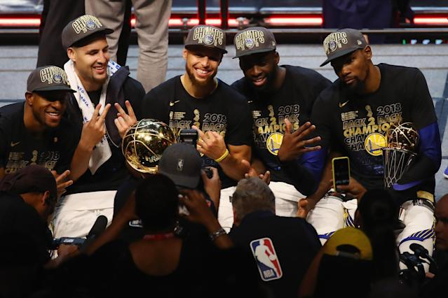With the addition of four-time All-Star center DeMarcus Cousins, the Golden State Warriors may just field the best starting lineup in NBA history next season. (Getty Images)