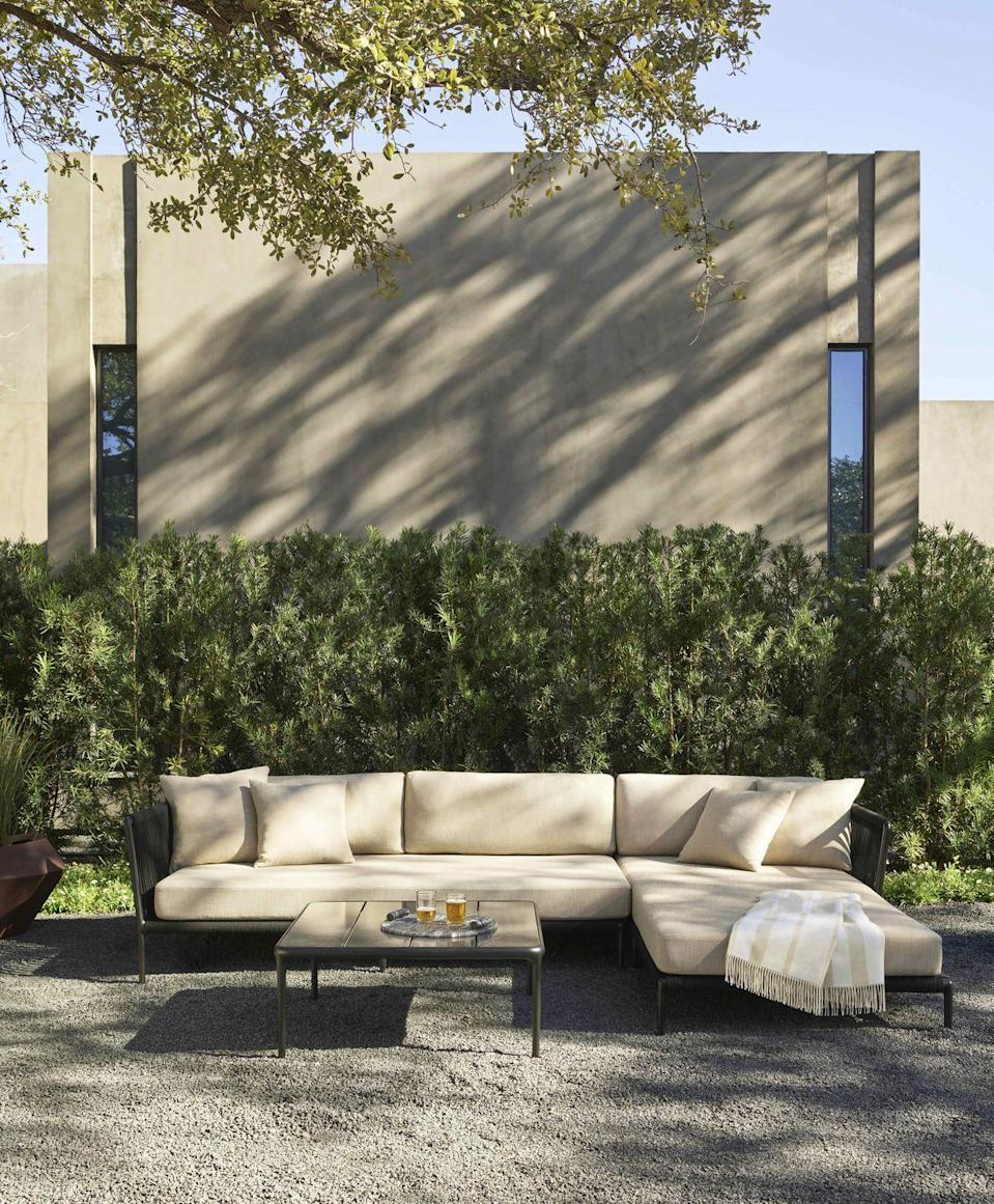 """<p>Named in honour of Otti Berger – the late textile artist and teacher at the Bauhaus – this outdoor sofa by Vincent Van Duysen is the first design by Sutherlands to use sister brand Perennials' high-performance acrylic rope for the backrest. From £3,654, <a href=""""https://www.sutherlandfurniture.com/collections/otti"""" rel=""""nofollow noopener"""" target=""""_blank"""" data-ylk=""""slk:Sutherland"""" class=""""link rapid-noclick-resp"""">Sutherland</a></p>"""