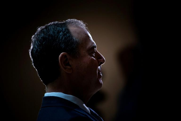 House Intelligence Committee chairman Adam Schiff speaks to reporters during a briefing on Capitol Hill about a whistleblower complaint on alleged behavior by President Donald Trump