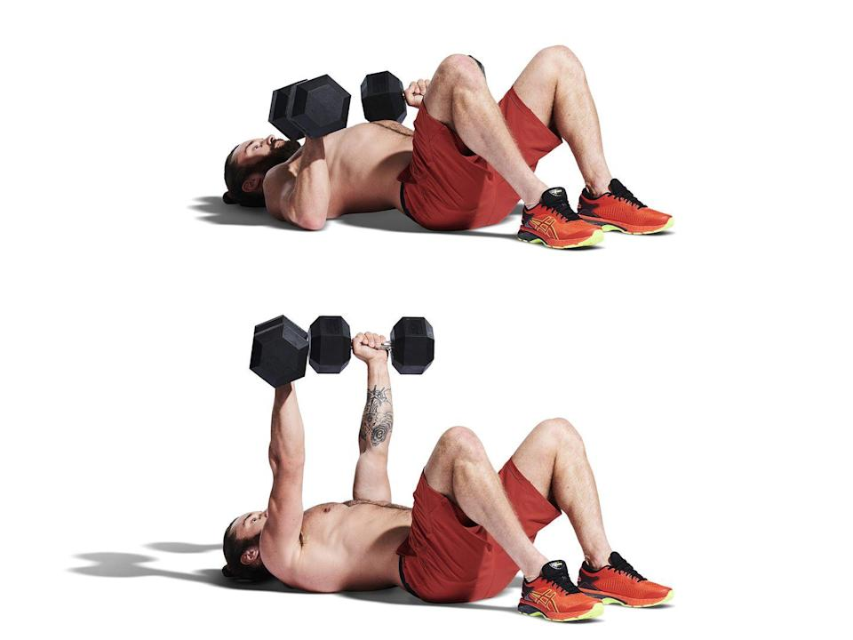 <p>Lay flat on your back with your knees bent and your feet flat on the ground. Press the weights above you, locking out your elbows (A). Lower them slowly until your upper arms are resting on the floor (B), close to your body, pause here before explosively pressing back up.</p>