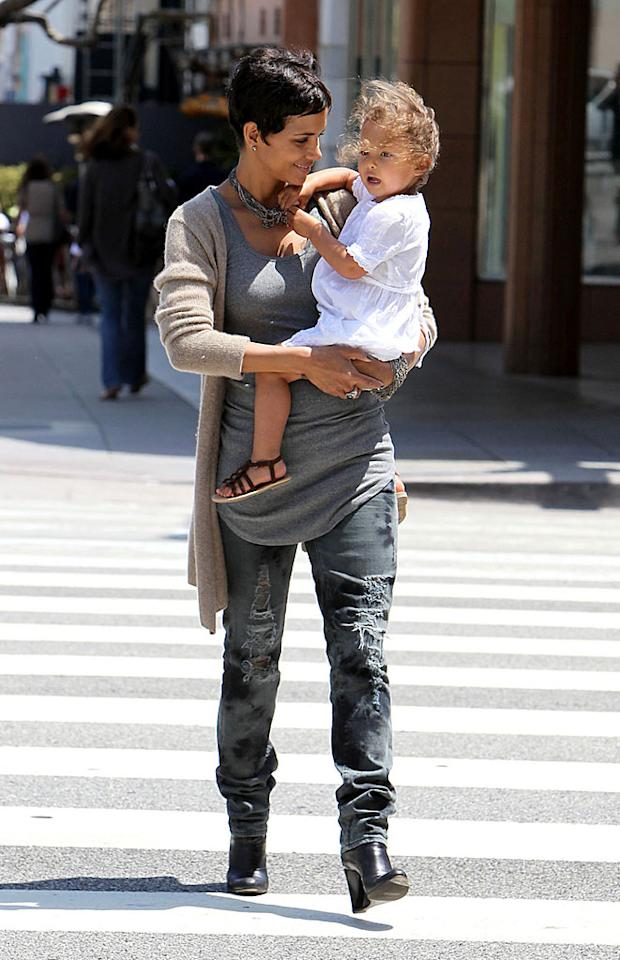 "Looking none the worse for wear after announcing her split with baby daddy Gabriel Aubry last week, Halle Berry spent a happy Mother's Day in Santa Monica, California with her beautiful daughter Nahla, 2. Juan Sharma/<a href=""http://www.pacificcoastnews.com/"" target=""new"">PacificCoastNews.com</a> - May 9, 2010"