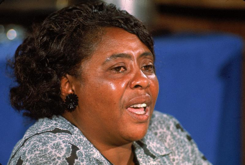 """American civil rights leader Fannie Lou Hamer testifies on behalf of the Mississippi Freedom Democratic Party,which had been denied seats at the convention by organizers acting on behalf of the """"regular"""" Mississippi Democratic Party's delegation."""