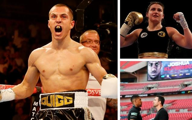 Scott Quigg (left) and Katie Taylor (top right) will both appear on the undercard to Anthony Joshua's IBF world heavyweight title fight with Wladimir Klitschko