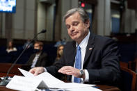 Federal Bureau of Investigation (FBI) Director Christopher Wray testifies before the House Judiciary Committee oversight hearing on the Federal Bureau of Investigation on Capitol Hill, Thursday, June 10, 2021, in Washington. (AP Photo/Manuel Balce Ceneta)
