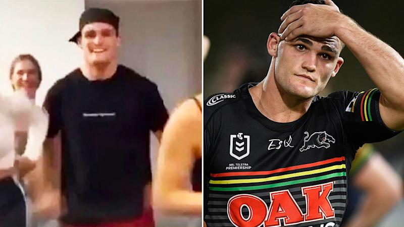 Pictured here, Nathan Cleary and the TikTok video that landed the Penrith halfback in trouble.