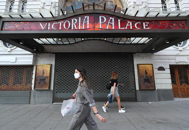 The Victoria Palace Theatre, London, will remain empty due to the ongoing uncertainty of lockdown and coronavirus. (PA)