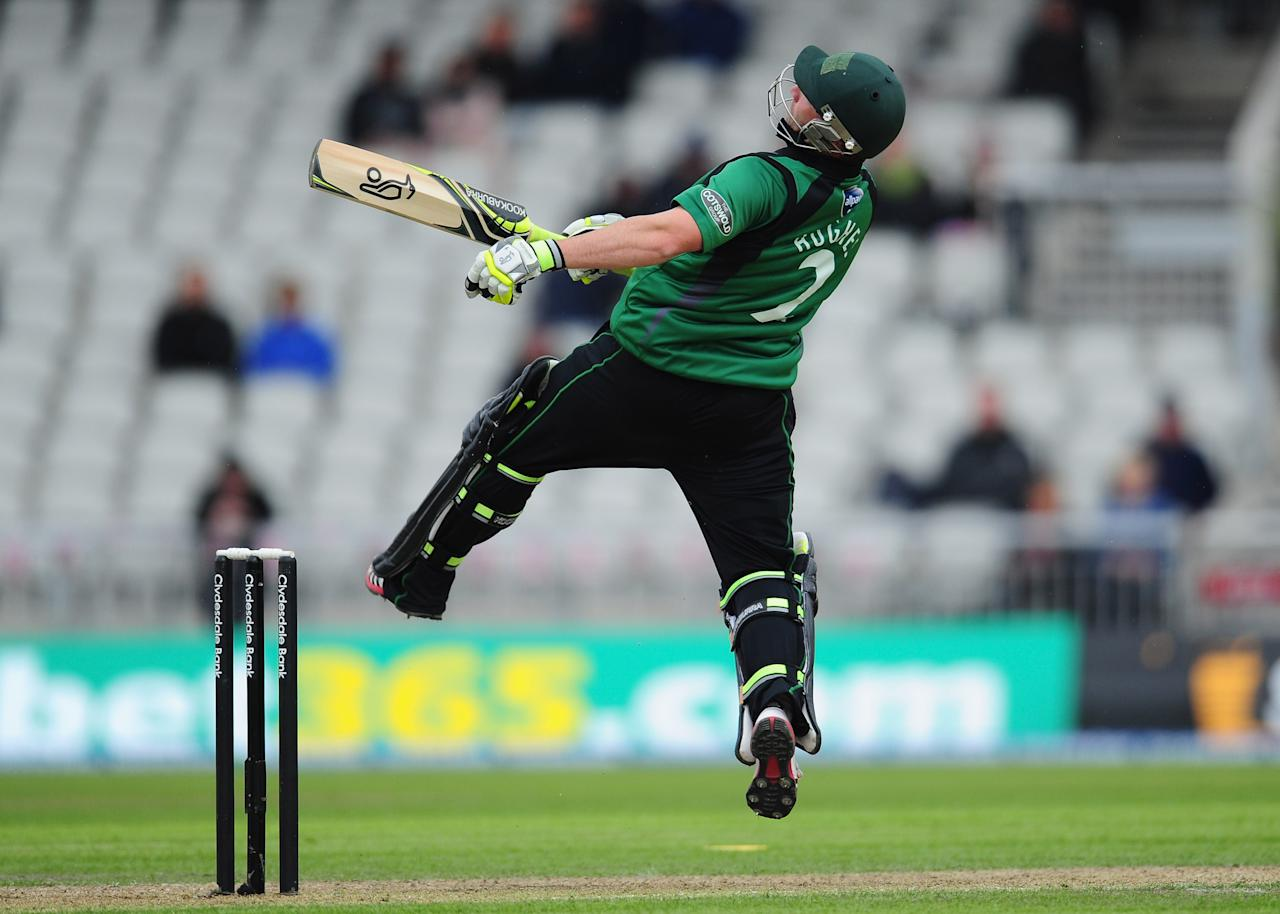MANCHESTER, ENGLAND - JUNE 05:  Worcestershire batsman Phillip Hughes in action during the Clydesdale Bank Pro40 match between Lancashire and Worcestershire at Old Trafford on June 5, 2012 in Manchester, England.  (Photo by Stu Forster/Getty Images)