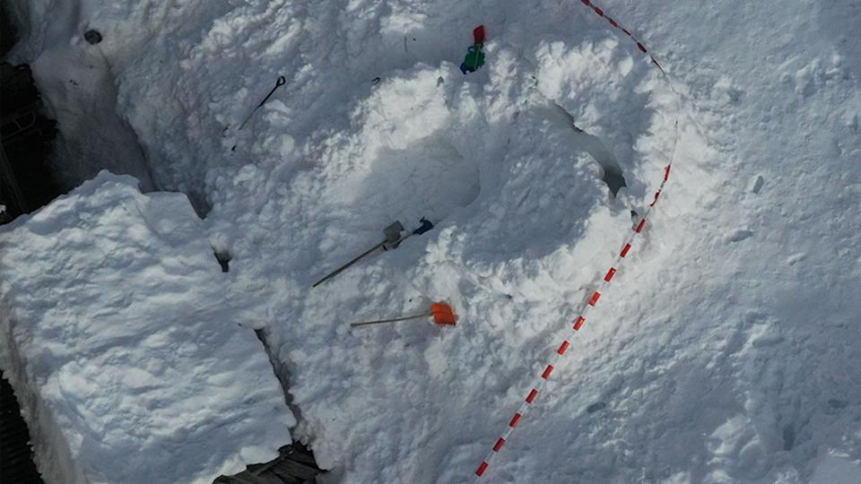 The scene where a seven-year-old boy died after an igloo collapse in Switzerland.