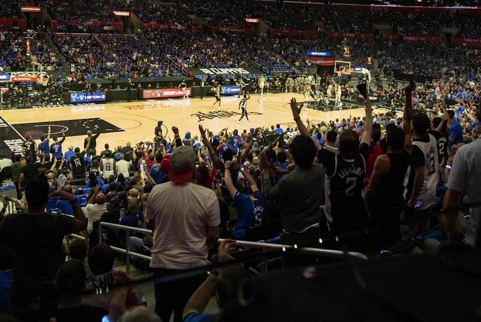 Fans cheer on the Clippers during Game 6 against the Jazz on June 18, 2021.