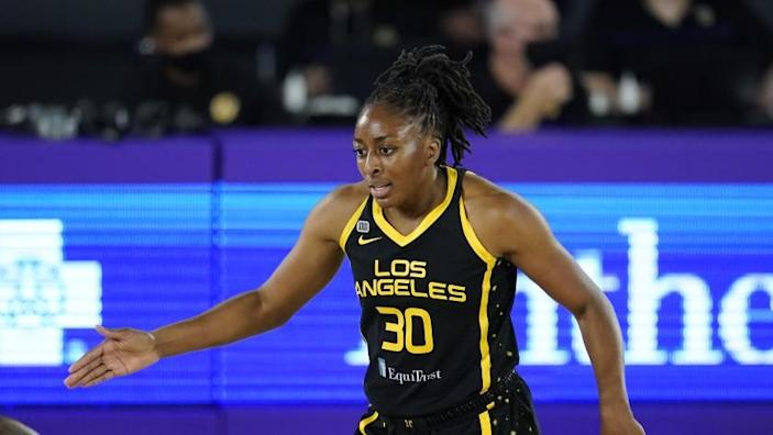Los Angeles Sparks forward Nneka Ogwumike (30) talks to her teammates during a WNBA basketball.