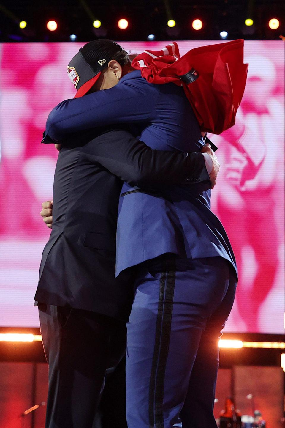 <p>Lance gave Goodell a big hug when he was selected third on Thursday night.</p>