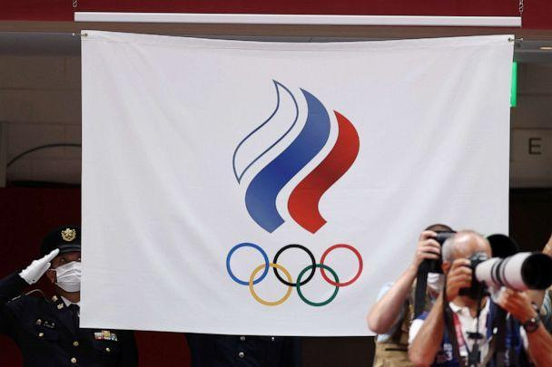 PHOTO: An ROC flag is pictured during an award ceremony at the 2020 Summer Olympic Games in Tokyo, July 28, 2021. (Valery Sharifulin/TASS via Newscom)