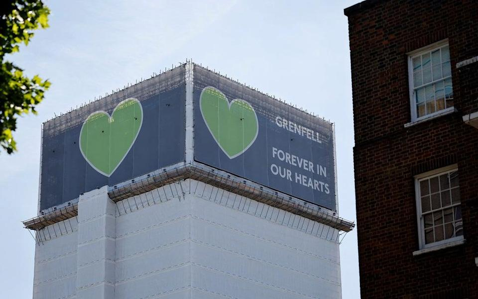 Grenfell Tower pictured in  June 2021, four years after a fire in the residential tower block killed 72 people (AFP via Getty Images)