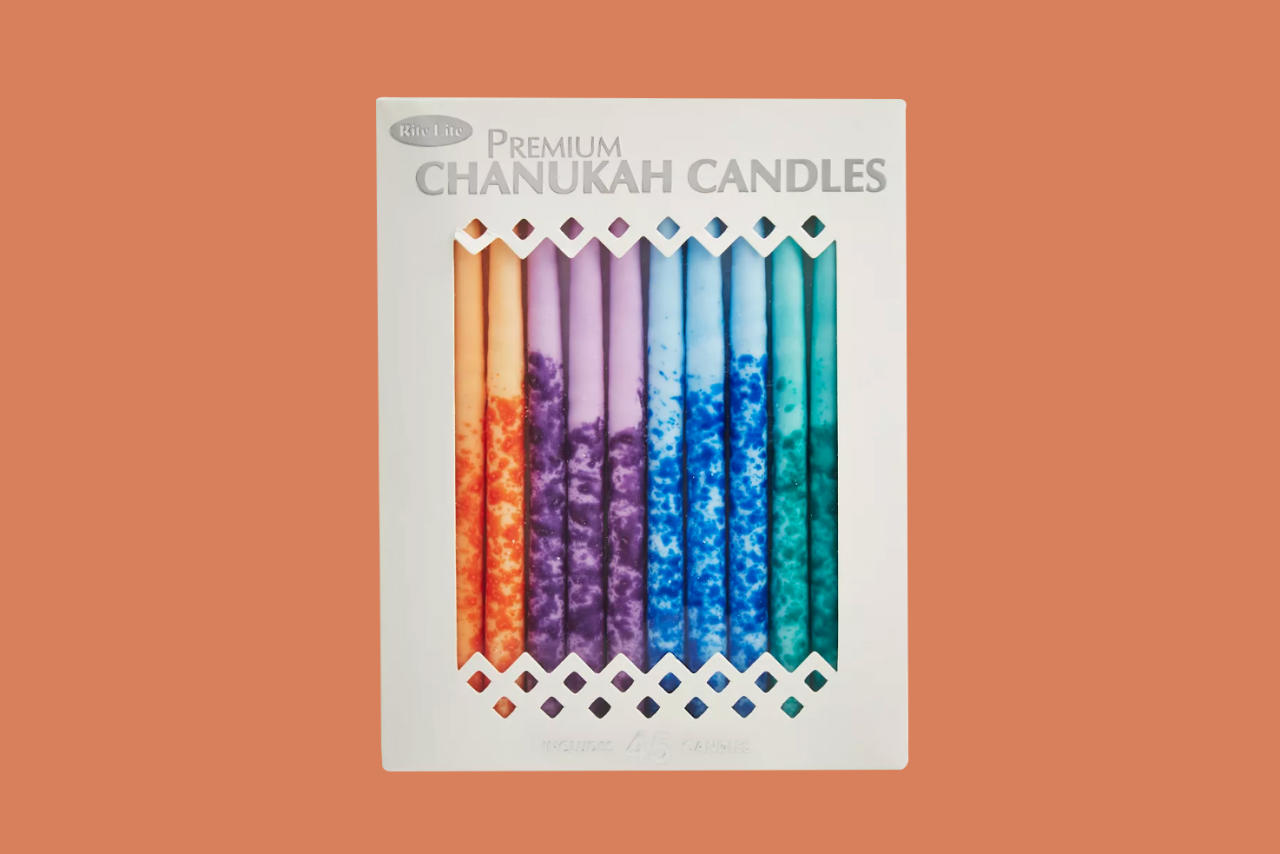 """<p>Try this modern set befitting the Festival of Lights. For a rainbow of colors, each one of the 45 tapers in this set are hand-dipped and hand-decorated in a myriad of hues.</p><p><em><strong>Shop Now:</strong> Rite Lite Premium Hanukkah Candles, in Multicolor, $18, <a href=""""https://click.linksynergy.com/deeplink?id=93xLBvPhAeE&#038;mid=13867&#038;murl=https%3A%2F%2Fwww.bloomingdales.com%2Fshop%2Fproduct%2Frite-lite-premium-chanukah-candles-multicolor%3FID%3D2647873&#038;u1=MSL%2C%2C%2C%2C%2C0%2C%2CI"""" data-unprocessed-href=""""https://www.bloomingdales.com/shop/product/rite-lite-premium-chanukah-candles-multicolor?ID=2647873"""" data-ecommerce=""""true"""" target=""""_blank"""" rel=""""nofollow"""" data-tracking-affiliate-name=""""www.bloomingdales.com"""" data-tracking-affiliate-link-text=""""bloomingdales.com"""" data-tracking-affiliate-link-url=""""https://www.bloomingdales.com/shop/product/rite-lite-premium-chanukah-candles-multicolor?ID=2647873"""" data-tracking-affiliate-network-name=""""Rakuten"""">bloomingdales.com</a></em><em>.</em></p>"""