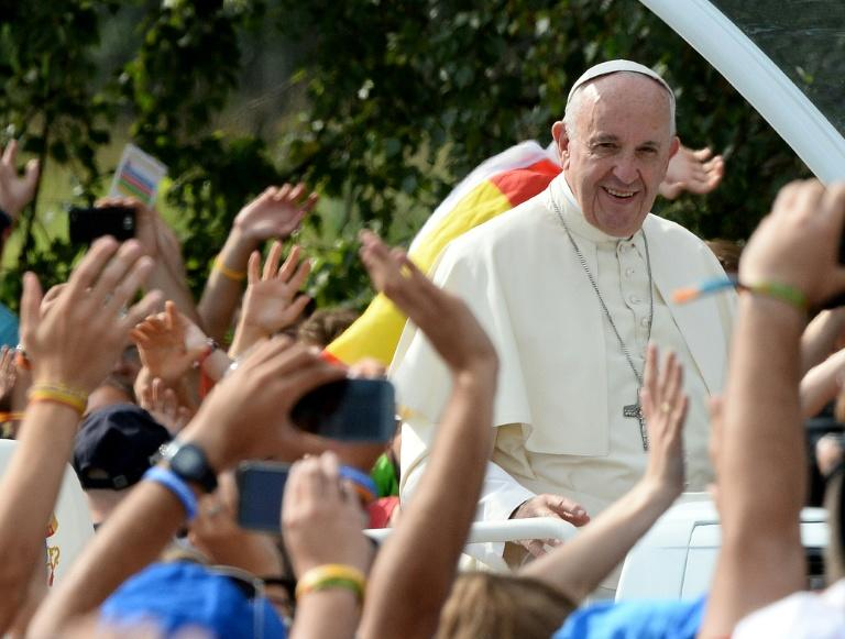Pope Francis arrives at the Campus Misericordiae in Brzegi near Krakow on July 31, 2016 at the end of the World Youth Day