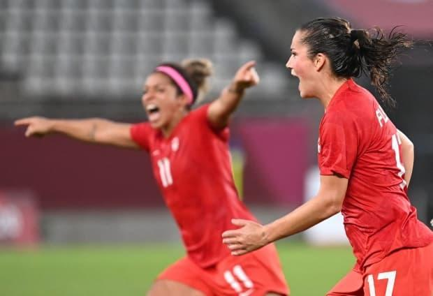 Jessie Fleming, right, celebrates after scoring the opening goal for Canada during the Tokyo 2020 Olympic Games women's semifinal soccer match on Monday. (Martin Bernetti/AFP via Getty Images - image credit)
