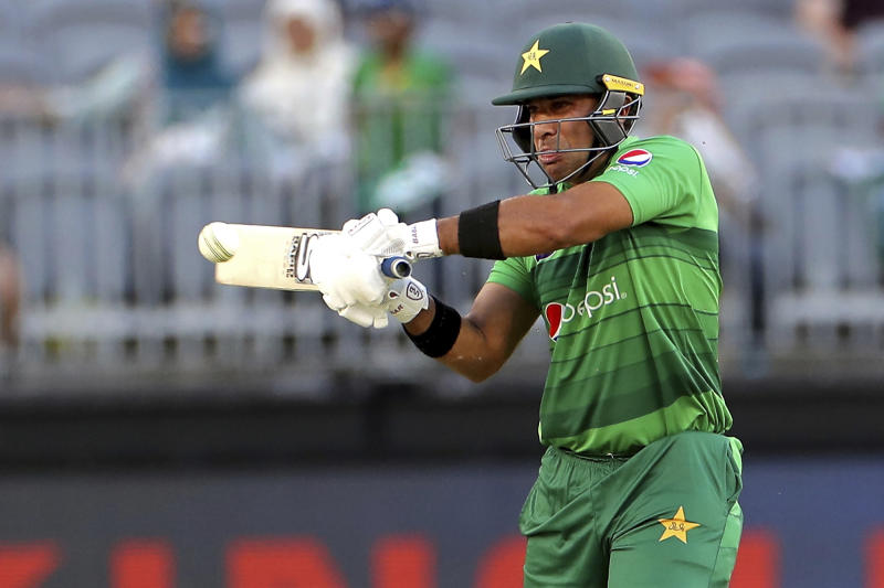 Iftikhar Ahmed of Pakistan bats during their T20 cricket match against Australia in Perth, Australia, Friday, Nov. 8, 2019. (Richard Wainwright/AAP Image via AP)