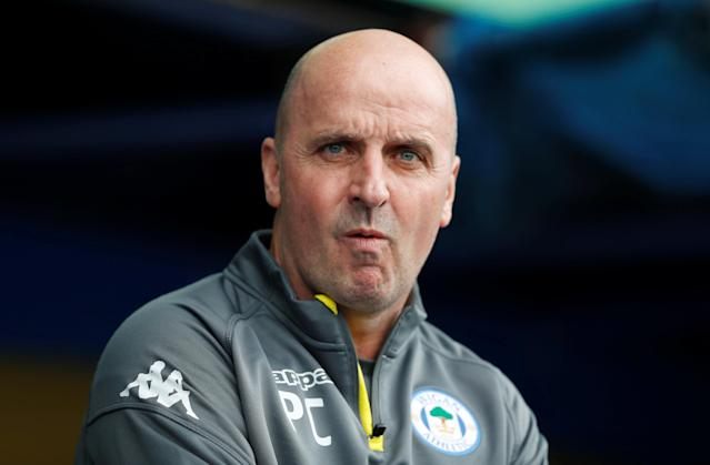 "Soccer Football - League One - Portsmouth vs Wigan Athletic - Fratton Park, Portsmouth, Britain - April 2, 2018 Wigan manager Paul Cook Action Images/Matthew Childs EDITORIAL USE ONLY. No use with unauthorized audio, video, data, fixture lists, club/league logos or ""live"" services. Online in-match use limited to 75 images, no video emulation. No use in betting, games or single club/league/player publications. Please contact your account representative for further details."