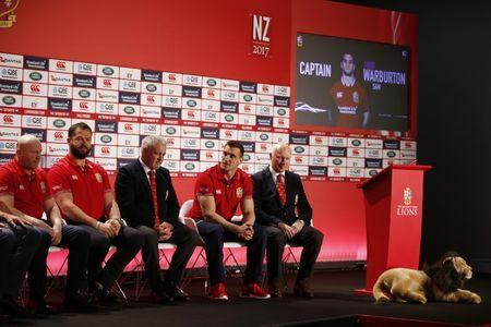 Britain Rugby Union - British & Irish Lions squad announcement for the 2017 tour to New Zealand - Hilton London Syon Park - 19/4/17 British & Irish Lions head coach Warren Gatland with defence coach Andy Farrell, captain Sam Warburton and tour manager John Spencer during the squad announcement Action Images via Reuters / Paul Childs Livepic