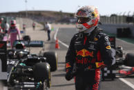Red Bull driver Max Verstappen of the Netherlands at the finish after clocking the third fastest time during qualification for the Formula One Portuguese Grand Prix at the Algarve International Circuit in Portimao, Portugal, Saturday, Oct. 24, 2020. The Formula One Portuguese Grand Prix will take place on Sunday. (Jose Sena Goulao, Pool via AP)