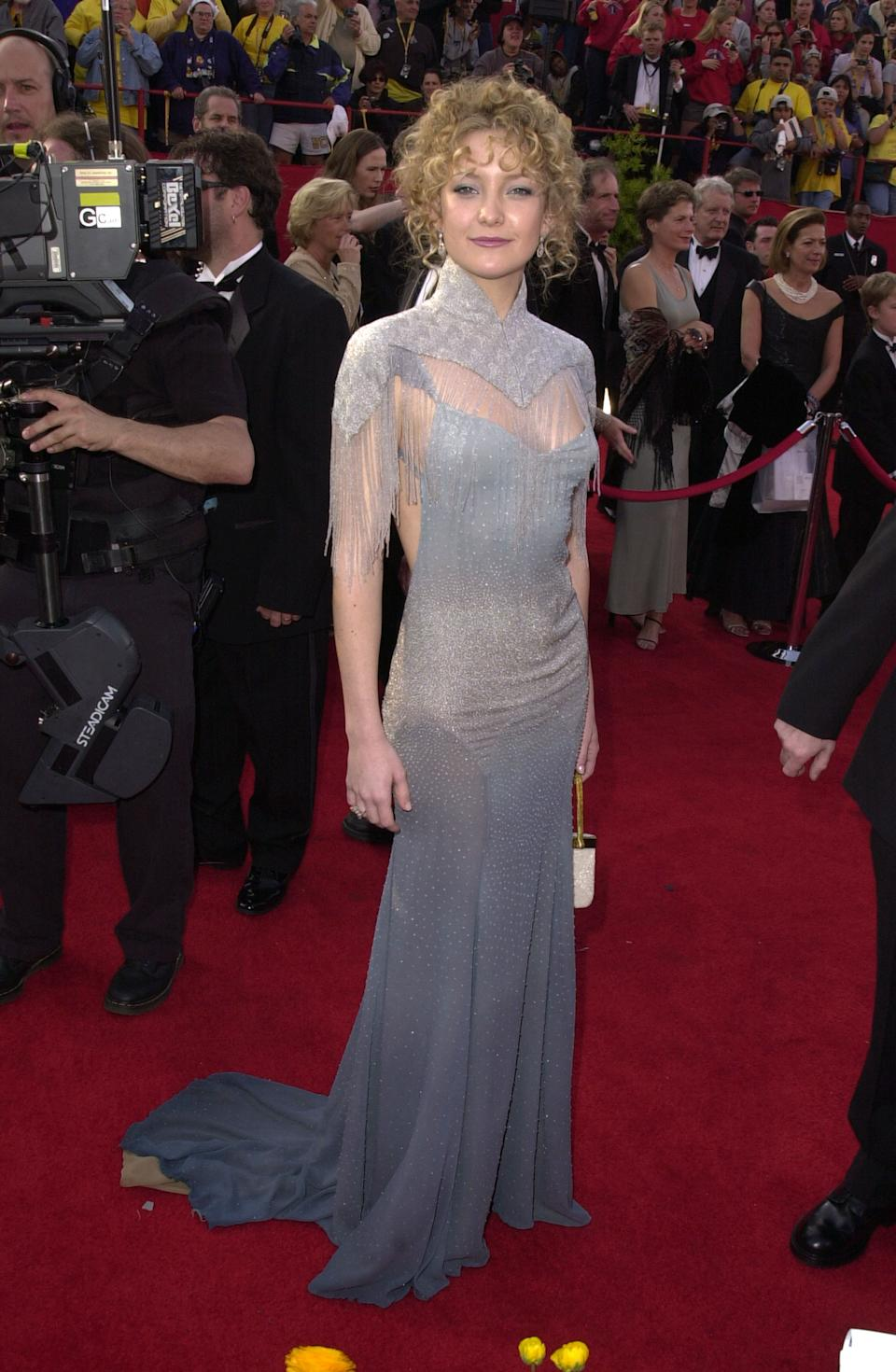"""<p>Hudson was too busy riding the high of her Oscar nomination for """"Almost Famous"""" to care that this fringed gown by pal Stella McCartney was dubbed a red carpet fail. """"To this day that now-vintage dress hangs in my wardrobe, but I swear one day I'll wear it again,"""" the actress said in 2011. """"But Stella, I promise I'll do the hair differently.""""</p>"""