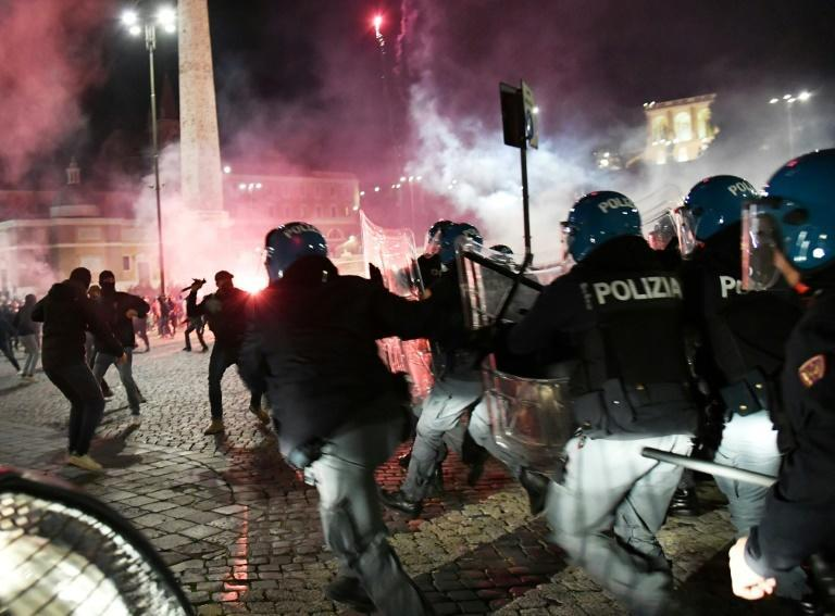 Italian police officers clash with far right Forza Nuova party activists in Rome