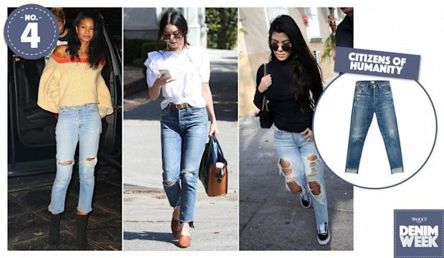 From left: Chanel Iman, Vanessa Hudgens, and Kourtney Kardashian wearing Citizens of Humanity out on the town. (Photo, from left to right: AKM-GSI, AKM-GSI, AKM-GSI, Citizens of Humanity)