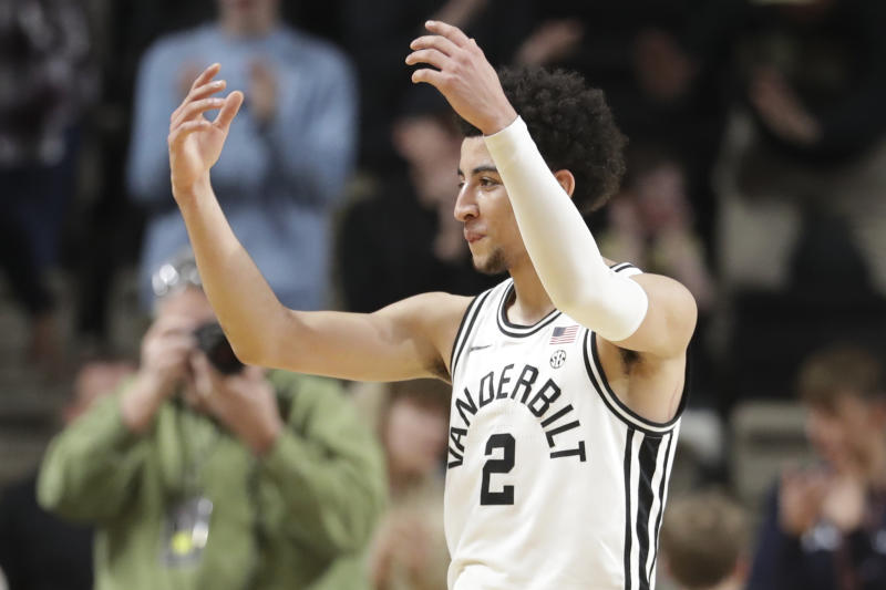 Vanderbilt guard Scotty Pippen Jr. celebrates after a score against South Carolina in the second half of an NCAA college basketball game Saturday, March 7, 2020, in Nashville, Tenn. Pippen led Vanderbilt with 21 points as they won 83-74. (AP Photo/Mark Humphrey)