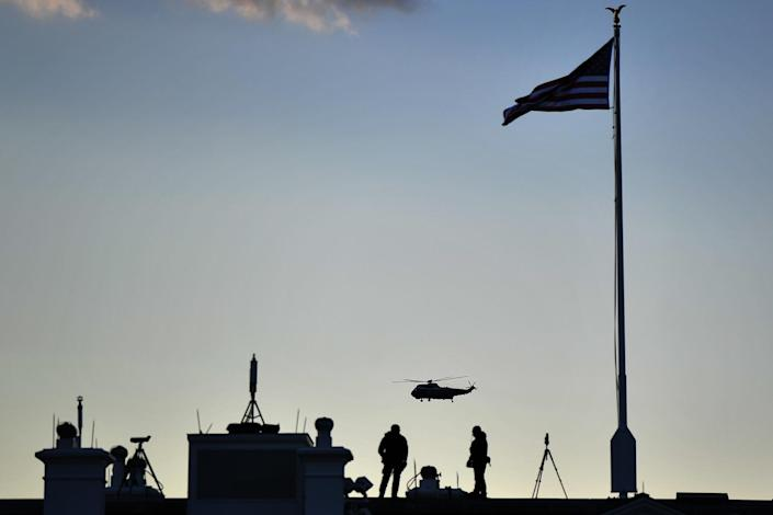 <p>Marine One lifts off, carrying Donald Trump and Melania Trump as they depart from the White House. </p>