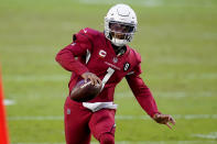 Arizona Cardinals quarterback Kyler Murray (1) runs for a first down against the Buffalo Bills during the second half of an NFL football game, Sunday, Nov. 15, 2020, in Glendale, Ariz. (AP Photo/Ross D. Franklin)
