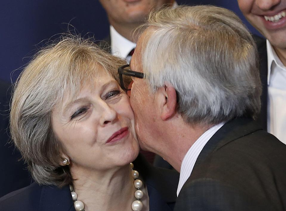 UK prime minister Theresa May with European Commission president Jean-Claude Juncker. Photo:  Xinhua/Sipa USA
