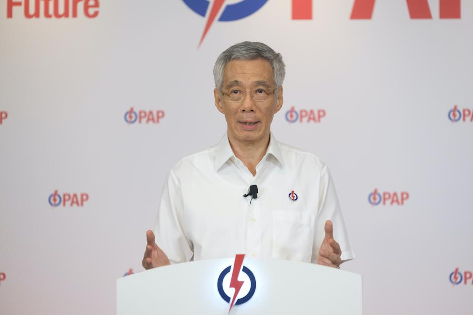 People's Action Party (PAP) secretary-general Lee Hsien Loong speaking during the lunchtime rally on Monday (6 July). (Photo: PAP)