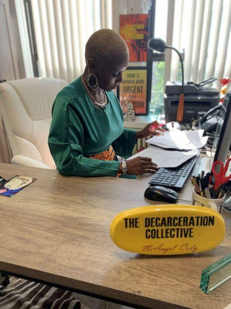 PHOTO: Decarceration Collective founder MiAngel Cody works in her Chicago office. (ABC News)