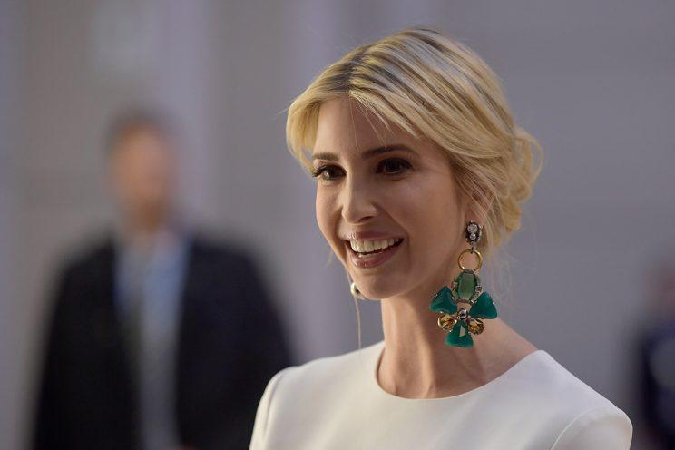 Ivanka Trump in mismatched earrings.